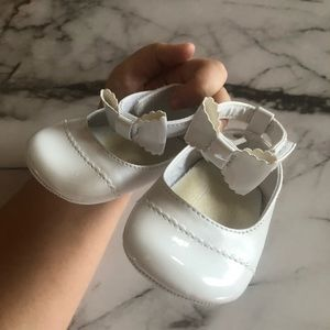 Baby Girl Leather White Bow Flats
